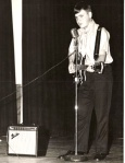 """Me singing into a now """"antique"""" microphone, 1972,"""