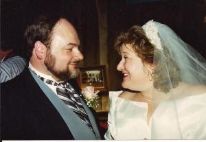 At our wedding reception July 31, 1993.