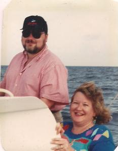 On our honeymoon sailing off St. Thomas, USVI, 1993