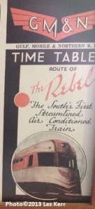 """Copy of the timetable of """"The Little Rebel,"""" Granddaddy's favorite train"""