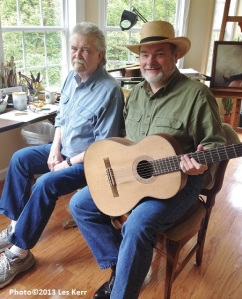 With Guy Clark holding a guitar he built.