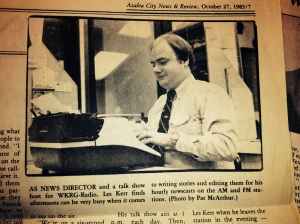 As a young news director, I was featured in an article by Pat McArthur (Booker) in the Azalea City News & Review
