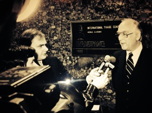 Early 1980s, covering then Congressman Jack Edwards in Mobile with my friend and competitor, Ron Reams