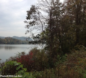 Foliage begins to turn colors by the Cumberland River near Ashland City, Tennessee