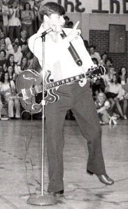 Imitating Elvis with my Epiphone 335, Pascagoula High School, 1973