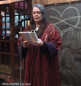 Poet Nancy Harris at the Maple Leaf Bar