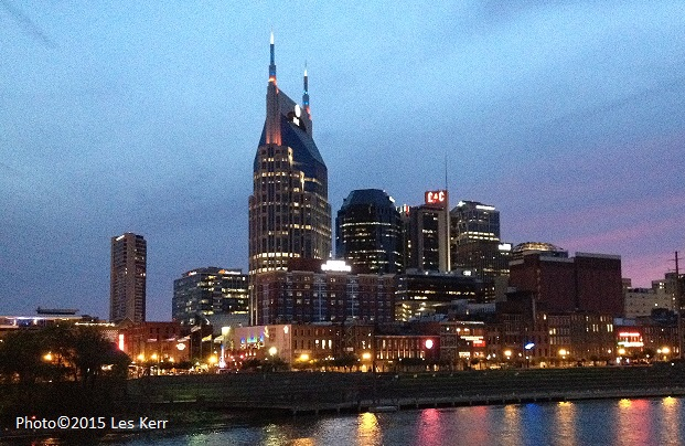 The view of Downtown Nashville from the Grammy Block Party