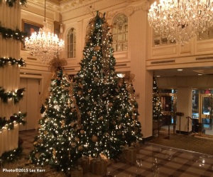 Christmas trees in the lobby of the Hotel Monteleone, New Orleans, Louisiana
