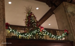 Christmas trees on the Mezzanine floor of the Peabody Hotel, Memphis, Tennessee